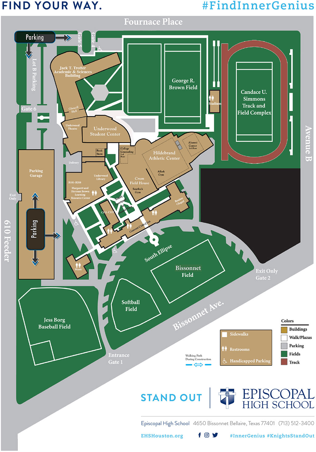 simmons college campus map Campus Map Directions Episcopal High School Houston Bellaire simmons college campus map