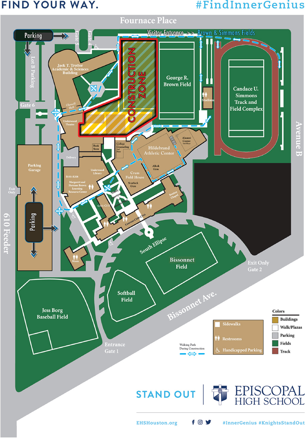 School Campus Map.Campus Map Directions Episcopal High School Houston Bellaire