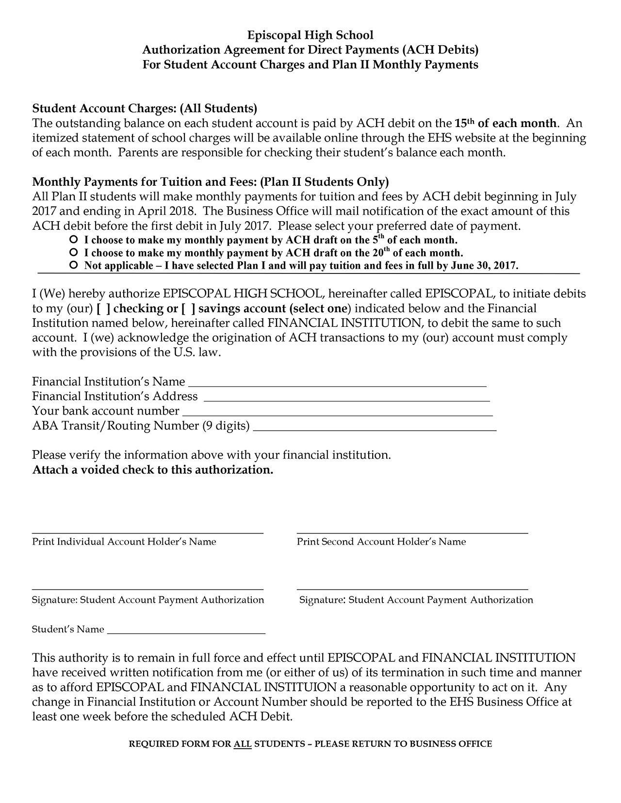 Authorization Agreement for ACH Debits - Episcopal High School ...
