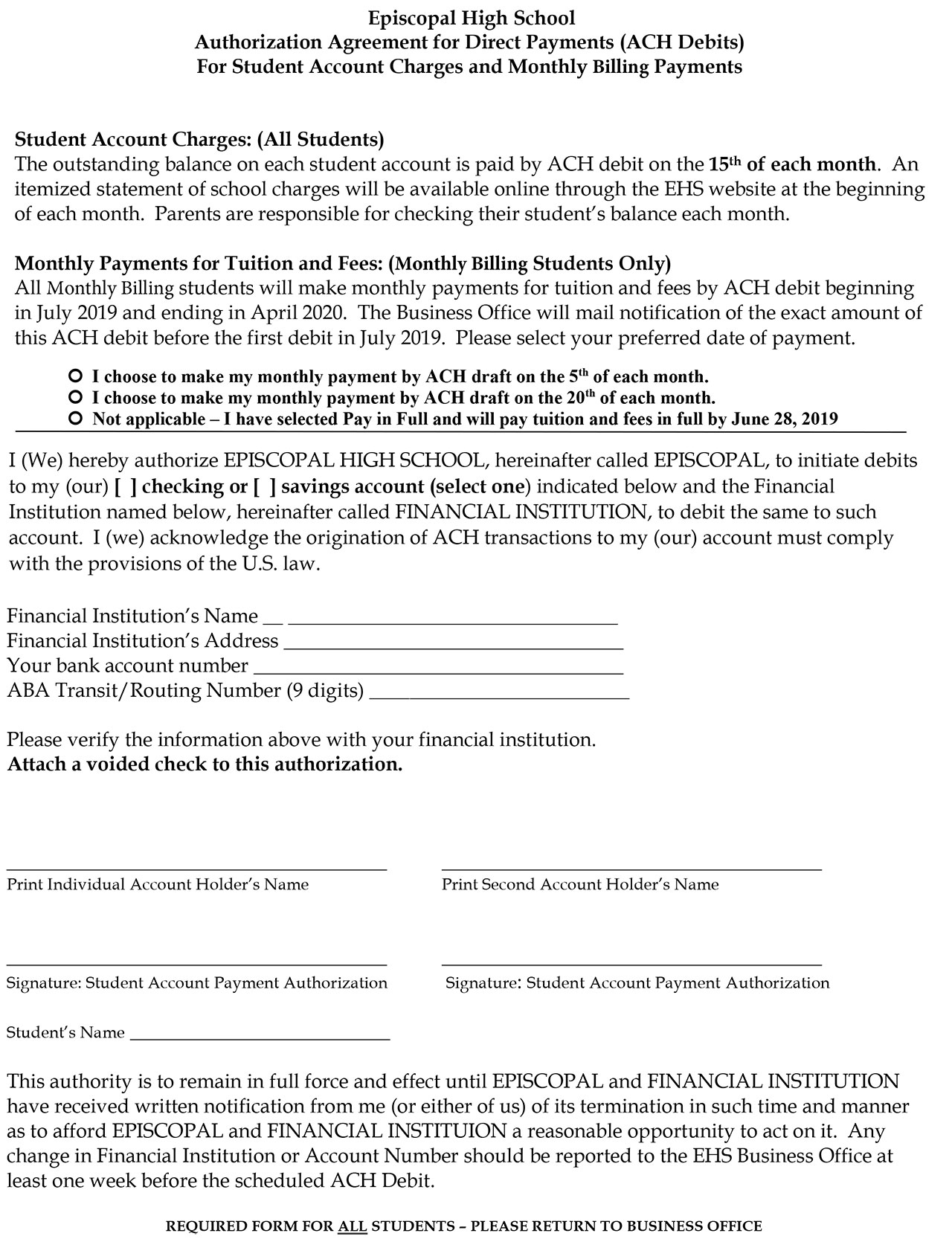 Authorization Agreement for ACH Debits - Episcopal High